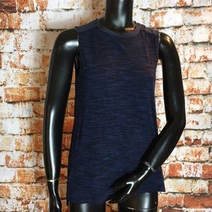 Vince Blue Tank Top with Silk Contrast